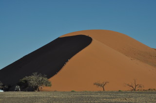 Climbing the dunes at Sossusvlei